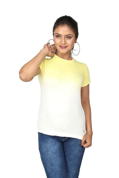 Queen's R-Neck Ombre T-Shirt - Yellow