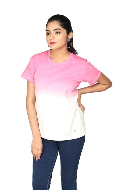 Queen's R-Neck Ombre T-Shirt - Pink