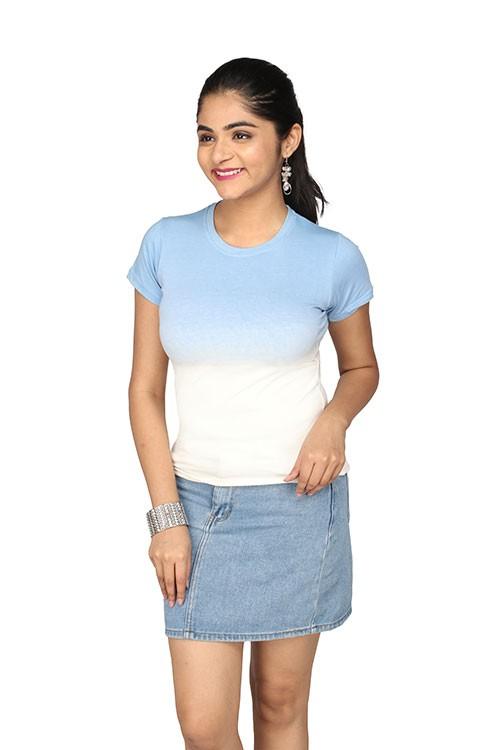 Queen's R-Neck Ombre T-Shirt - Blue