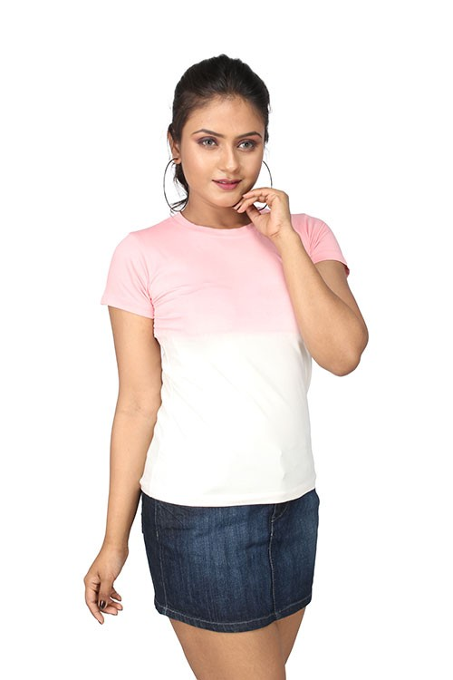 Queen's R-Neck Ombre T-Shirt - Crystal Rose